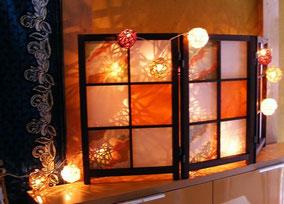 ラタンボールランプと彩り障子のコラボ商品