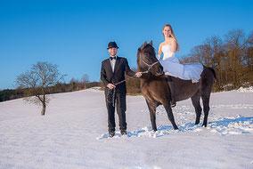 Braut auf Pferd