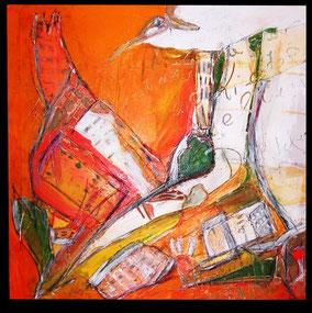 vogel über der Stadt -bird over town_ acryl 70cmx70cm
