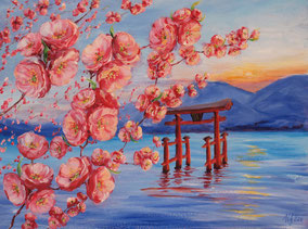 Sakura 2. Acrylic, cardboard, 30x40cm, 02-2011.