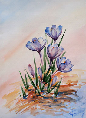 Spring crocuses. Watercolor, 29x42cm, 03-2011