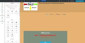 Neue Webseite die ich bearbeitet habe mit dem dazugehörigen Editor-Menü