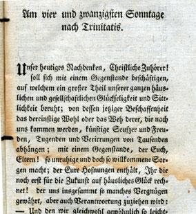 """""""Über die heranwachsende weibliche Jugend...""""  Anfang der Predigt von 1797. Quelle:  Universität Tartu - http://dspace.ut.ee/handle/10062/1475"""