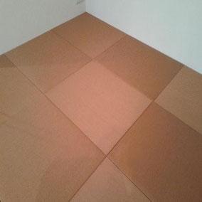 カラー畳(縁無し畳) 樹脂表 セキスイ美草 目積ブラウン使用 畳新調 半畳9枚 市松敷き 施工例へ