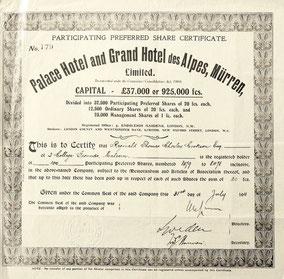 Das Zertifikat des Palace Hotels in Mürren über 100 Preffered Shares aus dem Jahr 1911 erinnert an bessere Zeiten.