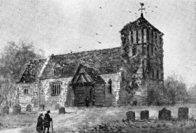The medieval church from T F Onley 1952 'Elmdon and the Church of St Nicholas' courtesy of Richard Huss