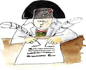 Illustration d'après Le Petit Napoléon Illustré (Pierre Étaix et Jean-Claude Carrière)