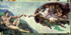 La Création d'Adam, 1511-1512, fresque de la voûte de la Chapelle Sixtine (détail), Rome, Michel-Ange (1475-1564).