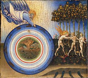 L'expulsion du paradis, 1455, Giovanni di Paolo (1403-1482), peinture sur bois, Metropolitan Museum of Art, New York.