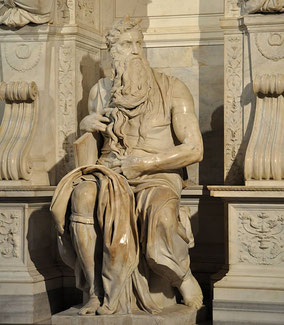 Moïse, 1512-1515, Michel-Ange (1475-1564), marbre, hauteur 2,35m, église St Pierre-aux-liens, Rome, Italie.