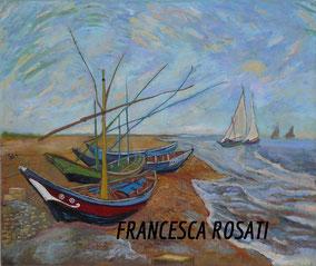 barche di pescatori sulla spiaggia a Sainte-Maries, copia d'autore Vincent Van Gogh, olio su tela, 50x60 cm, 2013