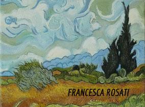 campo di grano con cipressi copia d'autore Vincent Van Gogh olio su tela, 30x40 cm, 2014