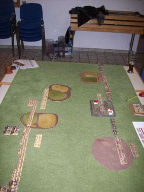 Die Ausgangslage - rechts unten eine offenes Feld, darüber ein Dorf, der Rest sind enclosed Fields