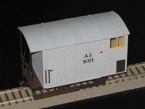 Güterwagens K2 51 der Aigle–Leysin-Bahn in der Spur 0e