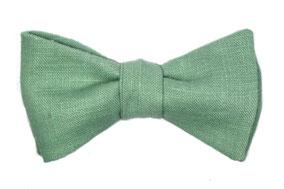 Herren Anzug Fliege grün aus Leinen zum selbstbinden