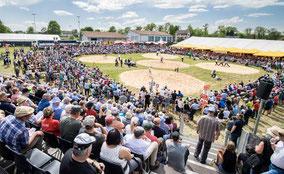 Die Kulisse der Thurgauer Kantonalen Schwingfests 2018 in Lengwil