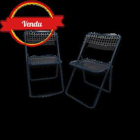 Chaises, pliantes, metal, industriel, bleu, fil ,d'acier,vintage