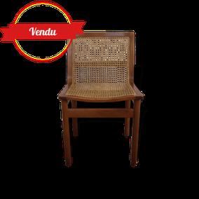 chaise,fauteuil,bureau,scandinave,1960,1950,rotin,cannage,cannée,arrondi,courbée,confortable,vintage,bois