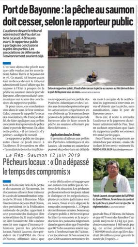 Pêche interdite au port de Bayonne dixit le Rapporteur Public. Victoire de toutes les assoc ensemble, chapeau à Salmo Tierra pour cette action.ACCOB