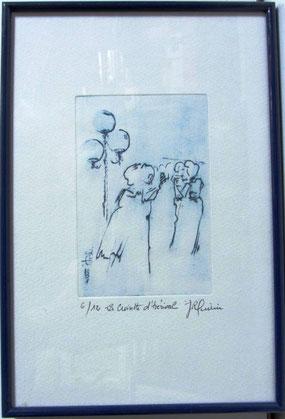 *905- La guinguette de La Croisette 20 x 30, vélin d'Arches