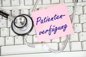 Bild mit Aufschrift Patientenverfügung