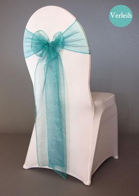 Stuhlschleifen in Farbe Türkis Grün mieten