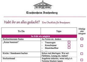Trachtenheim Irschenberg - Checkliste für eure Hochzeit