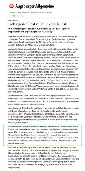 """Pressebericht über """"Kunst und Kulltur"""" Mindelheim, Augsburger Allgemeine 06.07.2016"""
