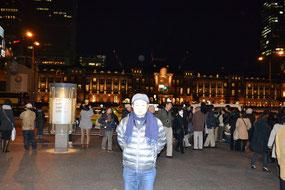 夜の東京駅にて