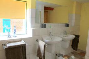 Badezimmer mit Sauna, 2 Waschbecken und WC