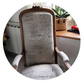 Fauteuil voltaire création La petite fabrique de Styles Artisan tapissier