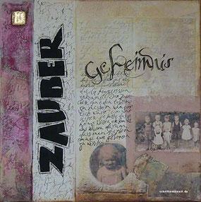 Collage mit Schrift und Fotos
