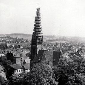 dudweiler, saarbruecken, evangelisch, christuskirche, reparatur, turmhahn, 1949
