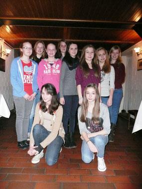 Teilnehmer Ponystammtisch v re n li: Cindy, Helena, Luise, Lena D., Lena S. Jana, Alicia, Julia, Sina; vorne: Ellen und Edwina
