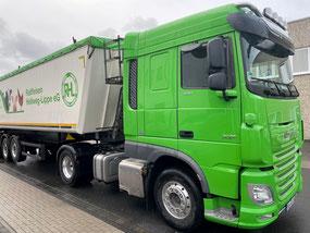 Abbiegeassistent für einen DAF XF in Wagenfarbe grün der Raiffeisen Hellweg-Lippe eG auch für DAF LF und DAF CF geeignet. Ein Abbiegeassistent für alle Fahrzeugtypen. WUE AAS-4.0