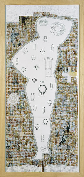 """""""Donna Roma"""", 1996, Mischtechnik auf Papier, 210 x 100 cm"""