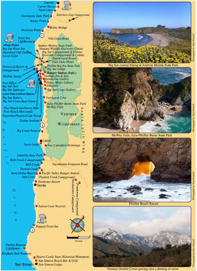 Big Sur Map, Carmel San Simeon