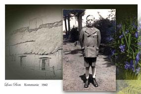 Oude foto van een jongen met een zondagskostuum.