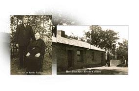 Oude foto met een man en een vrouw met hun boerderij.