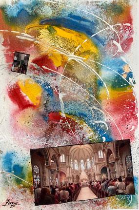 「教会と天国」 サムホール