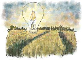 Glühbirne auf einem Feld Illustration