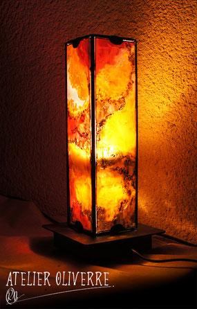 lampe traversée vitrail peinture atelier olivette