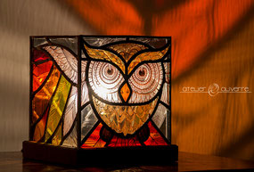 lampe chouette vitrail atelier olivette