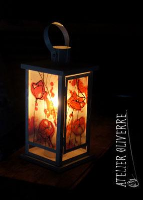 photophore artisanal, peinture sur verre, cadeau original fait main