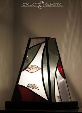lampe feuillage opaline atelier olivette