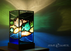 lampe poissons vitrail stained glass