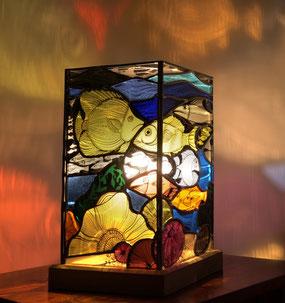 lampe vitrail, lampe peinte, decoration, lampe artisanale, lampe design