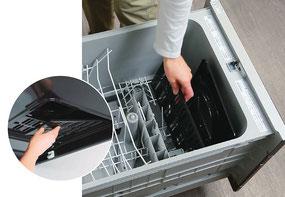 グリスフィルタもホーローなので簡単に外して洗えます。食洗機もOK!