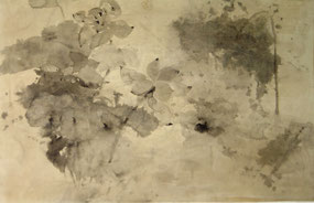 荷1 HE 1 58X93CM  纸本水墨与矿物色 INK & MINERAL COLOR ON PAPER 2003 (收藏于香港 COLLECTED IN HONG KONG)