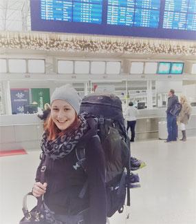 Am Frankfurter Flughafen vor der Abreise